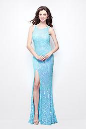 Aqua Primavera 1163 Grab some limelight in this ultra modern sophisticated style by Primavera Couture with pastel color sequins doused all over. The high neckline with sequin sprinkled sheer shows off a sweetheart neck.