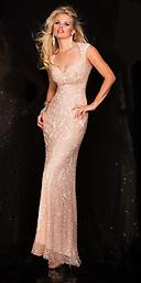 Blush Scala 48548 Beautiful fully beaded halter evening gown with open back. Its a prom or pageant must have!