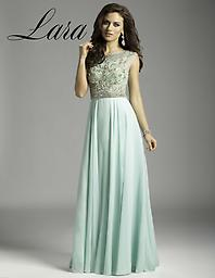 Aqua Lara Design 32497 Look amazing for your next formal party in this Lara 32497 evening gown. This dress has cap sleeves and fine shimmering beadwork throughout. The skirt has a nipped waist and full length hem.