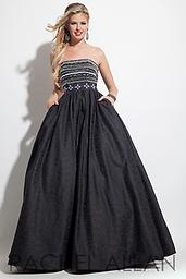 Black Rachel Allan 7177 Ideal for any upscale event, this strapless Rachel Allan 7177 A-line dress will put you in the spotlight. Intricate patterns of tiny, shimmering accents jazz up the form-fitting bodice.