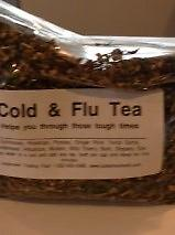 Cold & Flu Tea Helps you through those tough times. Ingredients: Echinacea, Rosehips, Parsley, Ginger Root, Yerba Santa, Goldenseal, Hibiscus, Mullein, and Wild Cherry Bark