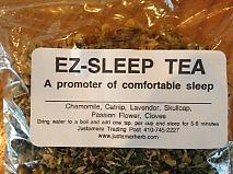 E Z Sleep Tea* A promoter of comfortable sleep. Ingredients: Chamomile, Catnip, Lavender, Skullcap, Passion Flower, and Cloves.* *Tea not to be taken when on anti-depressants.