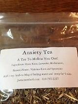 Anxiety Tea* A tea to mellow you out. Kava Kava, Lavender, Motherwort, Passion Flower, and Spearmint.* * Tea is not to be taken when on anti-depressants.