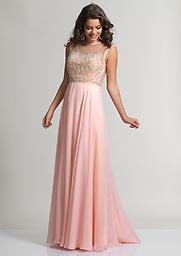 Blush Dave and Johnny 2368 PROM GOWN Style 2368 from Dave and Johnny is a long chiffon prom gown with multicolor beaded and sheer sleeveless bodice