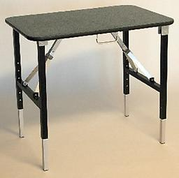 "b) 18"" x 30"" Ultra-Light Grooming Table The 18"" x 30"" model weighs approximately 15-16 pounds. Legs adjust easily from 26"" to 36"" high in 2"" increments."