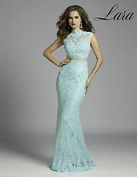 Aqua Lara 42518 Wow everyone at the party in this stunning two-piece evening gown from Lara 42518. The cropped top is sleeveless with lace fabric throughout. Sparkling stones add subtle shine.