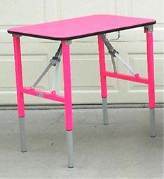 f) Custom Table Top Color We can do some custom colors upon request. There will be a $25 charge for colors other than our 6 standard colors shown on our Grooming Tables page. Legs on all tables are now black and silver.