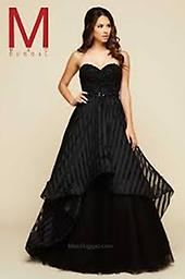 Black Mac Duggal 48424 This spicy black strapless sweetheart ballgown has a bodice that is fully sequined with a cluster belt and a striped pattern ruffle overlay offers another surprise element.