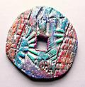 Zen Millwheel - Turquoise and fuchsia textured and layered brooch with attached pendant option