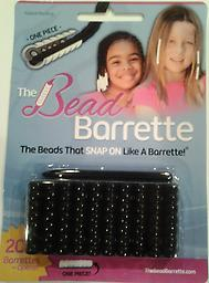 Black Bead Barrette 1 Pack 1 Package of black Bead Barrettes. Package includes 20 barrettes (the equivalent of 140 beads!) and one barrette opener