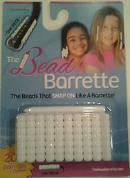 White Bead Barrette 1 Pack 1 Package of white Bead Barrettes. Package includes 20 barrettes (the equivalent of 140 beads!) and one barrette opener.