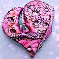 Patterned Heart Brooch/Pendant - Pattern, color and a sensuous curve add style to this brooch/pendant combination.