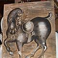 Original Oil Painting Horse on Beige Linen - This is a 1962 Oil Painting on Linen. It looks like it was done with brush and pallette knife.
