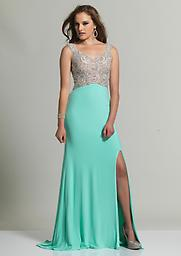 Aqua Blue Dave and Johnny 2338 You`ll have a full dance card when you are decked out in this utterly sophisticated Dave and Johnny 2338 evening gown! Yards of smooth, sleek material glide down easily from the empire waist.