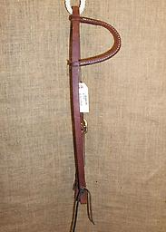 """5/8"""" harness leather rolled one-ear headstall with brass buckle 5/8"""" Hermann Oak harness leather headstall. One rolled ear-piece. Single cheek with brass buckle. Leather ties at bit ends."""