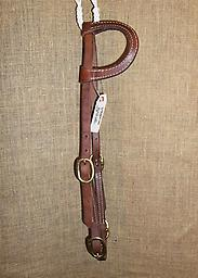 """5/8"""" Harness leather one-ear dble cheek headstall 5/8"""" Hermann Oak harness leather one-ear flat stitched earpiece. Double cheeks with brass buckles. Quick brass buckles at bit ends"""