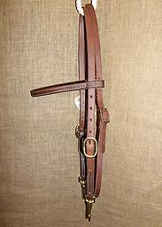 "5/8"" Browband headstall with quick snaps 5/8"" Hermann Oak harness leather straight brow headstall. Double cheeks with brass snaps. Brass quick snaps at bit ends"