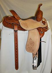"14.5"" Allen Ranch Barrel Saddle AR3 New 14.5"" Allen Ranch AR3 barrel Saddle. Wide flared bars. Half-breed chestnut w/ Sheridan tooling."