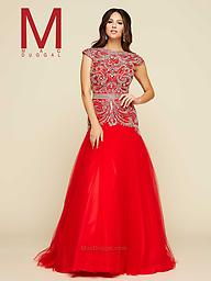 Red Mac Duggal 65364 Mac Duggal 65364H is a top pick in unique formal gowns! This trumpet style long gown features a gorgeous intricately beaded bodice that goes from the boat neckline down to the hips to show off.