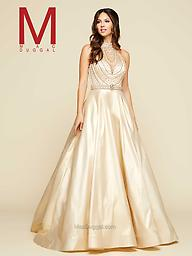 Mac Duggal 76952 Flawless in gold, Mac Duggal Style 76952H is featured in Seventeen Prom magazine. This luxurious ball gown features a fully beaded bodice and halter collar.