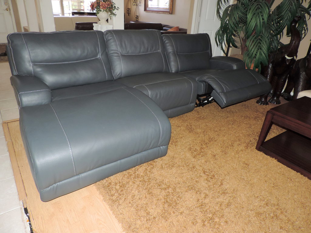 Caruso Anthracite Leather Electric Reclining Chaise Sectional Share
