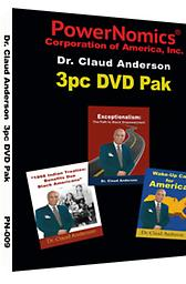 PN-009 Specially Priced 3PK DVD 3 Powerful DVD set consisting of Dr. Anderson's newest release Exceptionalism: The Path to Black Empowerment, plus Wake-Up call for America and 1866 Indian Treaties