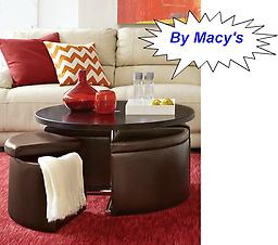 Macys Neptune Coffee Table with Storage Ottomans