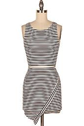 Black and White Stripe Two Piece Set Perfect for summer! It features sexy crop top, stripe print throughout, matching the asymmetrical skirt.