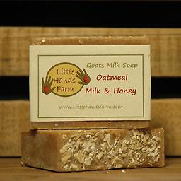 Oatmeal Milk and Honey Goat Milk Soap Bar This bar of soap is a luxuriously smooth soap that nourishes the skin. This particular scent is a moisturizing blend of oatmeal, goats milk, and honey, with a hint of almond. -Best Seller-