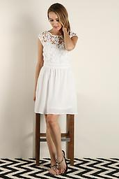 'Daisy' Lace Fit & Flare White Floral Lace Fit & Flare Dress