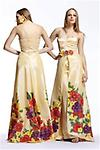 Yellow BG Haute Prom B18023 - This strapless satin taffeta long gown has a fitted satin bodice inner gown. Outer layer is hand painted in large blooming spring flowers. Waistline is embellished with three hand painted flowers.