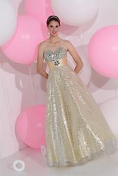 Pink Sparkle 71197 The fabric in this Sparkle prom dress style is Charmeuse+Sequins Tulle. Also available in buttercream color