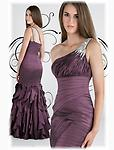 Purple Xtreme 30211 - This taffeta prom dress has a beaded one shoulder strap, asymmetrical ruched torso, and dropped waistline. Completing the look of this prom dress is a ruffled fit and flare skirt.