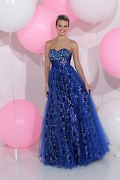 Blue Sparkle 71160 The fabric in this Sparkle prom dress style is Tulle+Charmeuse+Sequins