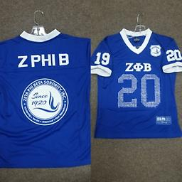 Zeta Greek Jersey Blue and white Zeta Greek jersey. With the year on the sleeve, seal on the back and z phi b