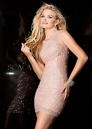 Blush Sequin Scala 48484 Look fabulous in this irresistible cocktail dress from Scala 48484. The elegant bodice has a high neckline and thick sheer straps for a stylish look. Covered and coated in dazzling tonal sequins.