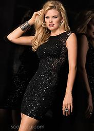 Black Sequin Scala 48484 Look fabulous in this irresistible cocktail dress from Scala 48484. The elegant bodice has a high neckline and thick sheer straps for a stylish look. Covered and coated in dazzling tonal sequins.
