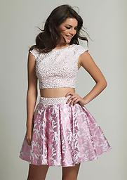 2 Piece Short Sleeve Dave and Johnny 1859 This festive short cap sleeve party dress features a high scoop neck bodice with all over sequin and pearl embellishments. A keyhole back detail provides added allure to your bare midriff.