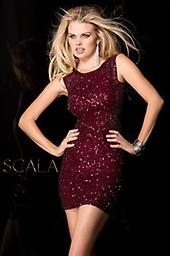 All Sequin Maroon Scala 48484 Look fabulous in this irresistible cocktail dress from Scala 48484. The elegant bodice has a high neckline and thick sheer straps for a stylish look. Covered and coated in dazzling tonal sequins.