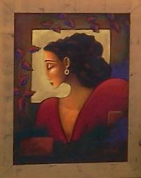 """The Ruby Earring Original painting in acrylic on canvas, The Ruby Earring, 24x18"""""""