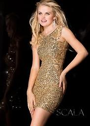 Dazzling Gold Sequin Scala 48484 Look fabulous in this irresistible cocktail dress from Scala 48484. The elegant bodice has a high neckline and thick sheer straps for a stylish look. Covered and coated in dazzling tonal sequins.