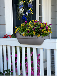 "24"" Rectangular Railing Planter Designed to sit on your deck or fence rail, this attractive planter is a great way to decorate any deck or yard setting."