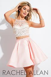 Rachel Allan 4156 White and Blush Two-piece fit and flare with mikado skirt and jewel toned bodice.
