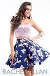 Rachel Allan 4233 Lilac and Navy - Two-piece floral skirt with fulled jeweled strapless crop top.