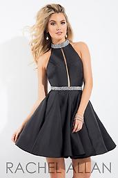 Rachel Allan 4162 Black Halter This adorable Rachel Allan 4162 features beaded pearls around neck and waist, as well as a mesh cutout down the front of the bodice.
