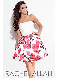 Rachel Allan 4202 White/Fuchsia Strapless This adorable Rachel Allan design features pockets, as well as an embriodered lace top with beaded sparkels.