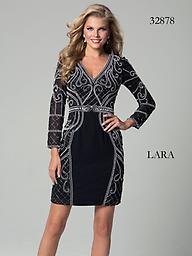 Lara 32878 Black Long Sleeved White Beaded Look fabulous for your next formal party in this Lara 32878 cocktail dress. This dress has a modest V-neckline and long sleeves. Tonal contrast beadwork winds throughout the dress for a rich texture.