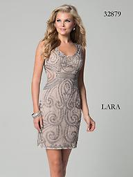 Lara 32879 Nude/Grey Shining Beaded Wow everyone at the party wearing this fabulous cocktail dress by Lara 32879. This dress is sleeveless with a scoop neckline. Fine shining beads cover the dress for a chic look.