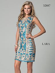 Lara 32887 Champagne/Turquoise Sequined Print Shine on in this sizzling dress from Lara 32887. This sleeveless dress has fine sequins throughout. This dress is fitted and moves into a straight skirt with a modest hem.