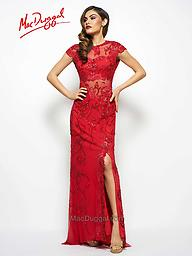 Mac Duggal 1903 in Red and Ice Pink There is no doubt that this long Red dress creates that magnificent glamour of old Hollywood beauty with a sweet bateau sheer illusion neckline.